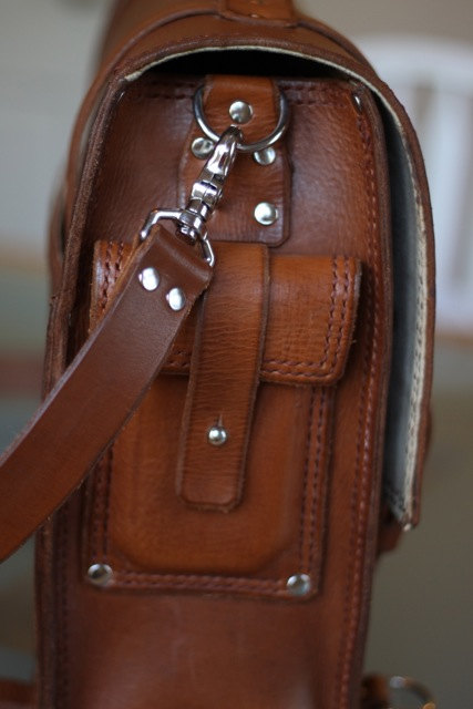 handmade leather bag with an iPhone 5 pocket