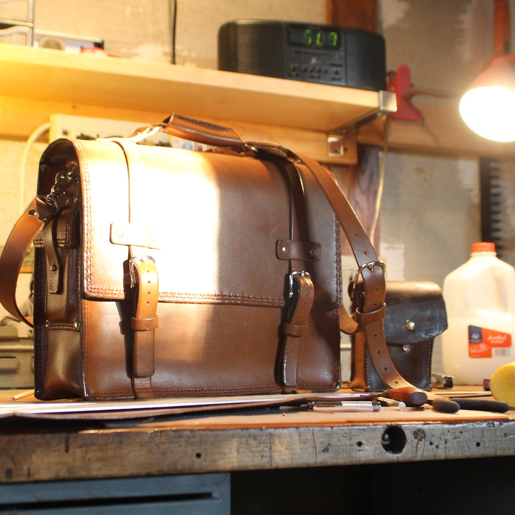 Handmade leather bag made by Seth Gray
