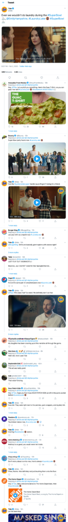 brand voice: a bunch of brands talking at each other on Twitter during Super Bowl LIV